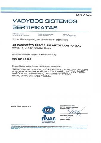 vadybos sistemos sertifikatas